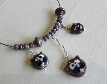 Cat necklace beads artisan glass Lampwork beads, metal purple dark