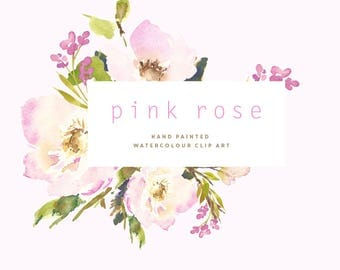 Hand Painted Watercolour Flower Clipart - Pink Rose