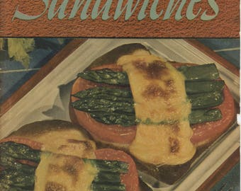 """1941 Cookbook, """"500 Tasty Sandwiches"""" by the Culinary Arts Institute"""