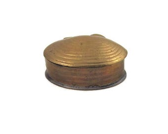 Brass Clamshell Trinket Stash Box India Vintage Maroon Velvet Lining Beach Boho
