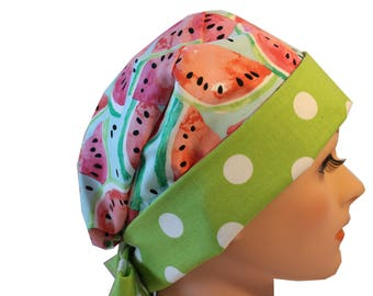 Medical Hat Surgical Scrub Cap Chemo Vet Nurse Dr Hat Front Fold Pixie Style Watermelon with Large Green Dots accents   2nd Item Ships FREE