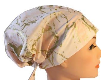 Scrub Hat Cap Chemo Bad Hair Day Hat  European BOHO Pink Gold Marble 2nd Item Ships FREE