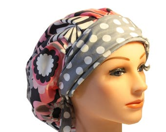Scrub Cap Surgical Medical Chemo Chef Vet Nurse Hat Banded Bouffant Tie Back Pink Grey Flower Shower Dots 2nd Item Ships FREE
