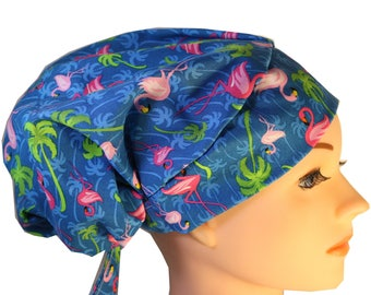 Scrub Hat Cap Chemo Bad Hair Day Hat  European BOHO Pixie Blue with Pink Flamingos 2nd Item Ships FREE