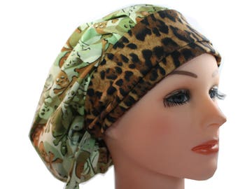 Scrub Cap Surgical Medical Chemo Chef Vet Doctor Nurse Hat Banded Bouffant Tie Back Green Tan Camo Animal Print 2nd Item Ships FREE