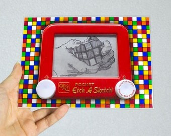 Rubiks Cube signed Etch A Sketch art print (pick your size!)