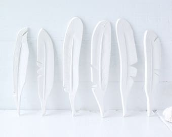 Feathers. Six Ceramic Feathers. Hand-Built. All White.