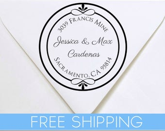 Custom Return Address Stamp - Self Inking. Personalized rubber stamp with lines of text