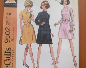 McCalls 9502 A-Line Dress in Three Styles Vintage Sewing Pattern 1960s 60s Size 14