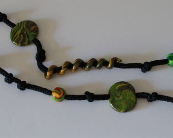 Knit with Terra-cotta beads necklace