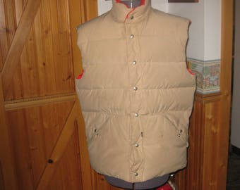 Mens Vtg 10 X Down Tan Reversible Vest blaze orange quilted puffer snap stainless front L- XL free ship
