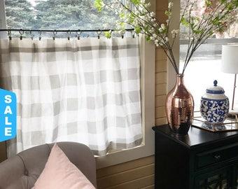 1 Plaid Cafe Curtain, Plaid , Buffalo Plaid , Window Treatments, Curtains , Buffalo Check, Nursery , Farmhouse Decor, Vintage Decor