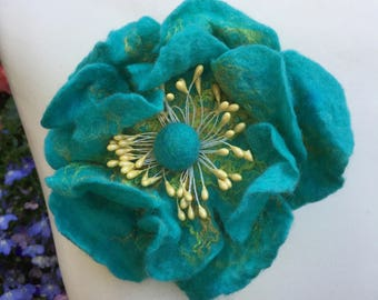 Hand Felted Flower Brooch / Pin