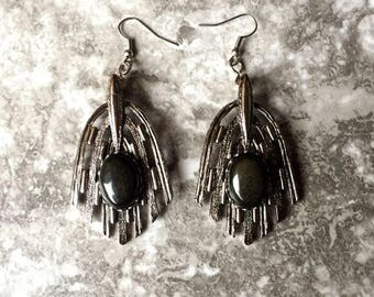 Raw Obsidian Earrings - Black Panther Inspired - Crystal Jewelry - Dangle Earrings - Wakanda Inspired