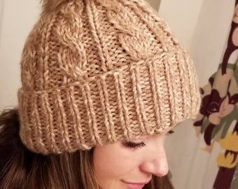 Faux fur cable hat