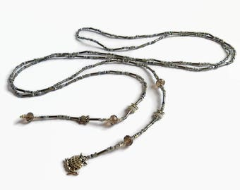 Grey beaded lariat owl, seed bead Y-necklace, bohemian beaded lariat, dainty Y-necklace