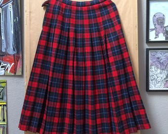 Vintage Pendleton Pleated Plaid Skirt Authentic Manson Tartan Made in USA Oregon 100% Wool Size 8
