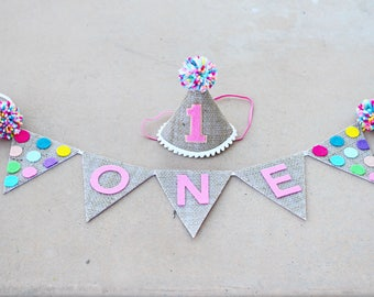 Girl 1st Birthday Burlap and Polkadot Small Party Hat - High Chair Banner - Girls Sprinkles First Birthday Hat - Cake Smash