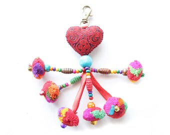 Heart Pom Pom Zipper Pull / Key Chain Fair Trade - Thailand