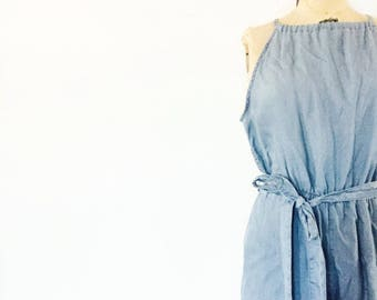 SALE / Vintage Chambray Denim Jumpsuit/ Cropped Romper / Nineties 1990s 90s / Size Small