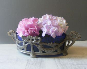 Antique French Art Deco Planter,Jardiniere,Spelter and Blue Glass.
