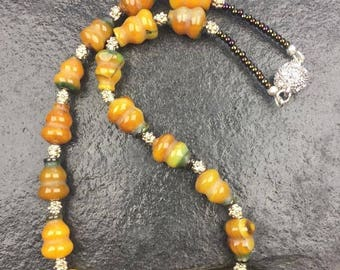 Yellow Turquoise and Jade necklace
