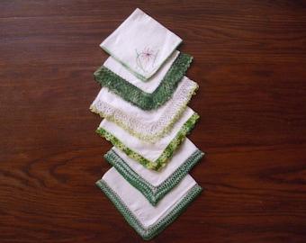 Six Vintage White Linen Handkerchiefs, Shades of Green Hankies, Wedding Handkerchiefs, Handkerchief Crochet, Lace Handkerchief, Hankie Lot,