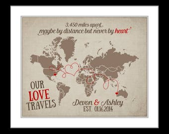 Unique Going Away Gift Custom Designed Love Map Quote Hearts Miles Chalkboard Background Moving Away Far Go Long Distance Present Art Print