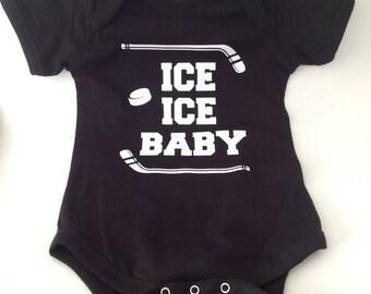 DIY Ice Ice Baby Hockey Baby Onesie Iron On Decals T-Shirt Decals