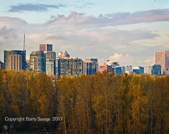 View of Portland Oregon Cityscape from the South in Autumn