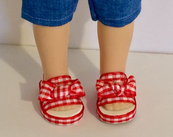 Red and white check country sandals. Wellie Wisher sized shoes. Handmade doll shoes.