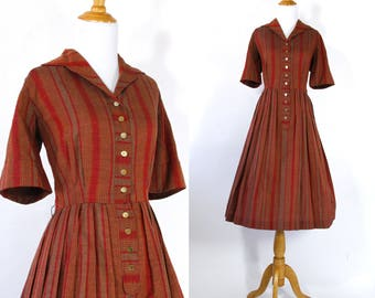 Vintage 1950s Dress   50s Autumnal Striped Shirtwaist Dress   Rust Red and Orange   M L