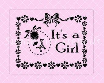 It's a Girl frame stencil baby shower SL20350