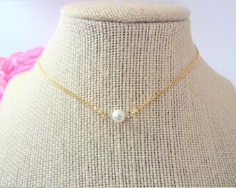 MINIMALIST Swarovski PEARL NECKLACE - choker necklace - choice of chains - stainless steel, silver plate, sterling silver or gold plate