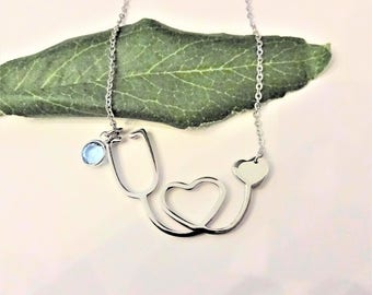 NURSE STETHOSCOPE NECKLACE with Swarovski birthstone crystal or pearl - choice if chains
