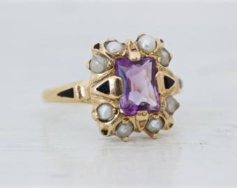 Antique Amethyst Ring | Black Enamel Ring | Victorian Mourning Ring | 10k Yellow Gold Pearl Ring | February Birthstone Ring | Size 6.5
