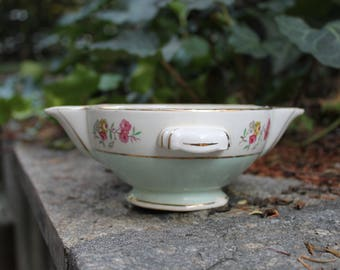 French saucer server, Orchies Nord Moulin des Loups France, antique ceramic serving table white green, flowers decor, salsiera, vintage