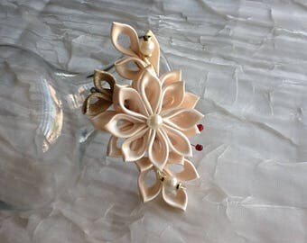 Hair Clip - Light Orange Cream Off White Kanzashi Flower -  Hair Accessories Wedding Hair Flowers