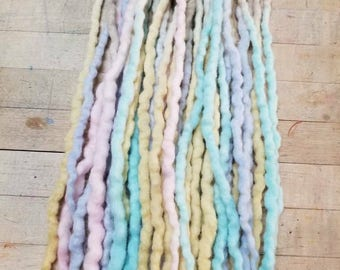 Wool Dreads  Hair Extensions Dreadlocks Set of 20 Pastel Mix
