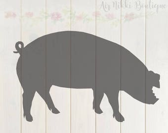 Pig, SVG, PNG, DXF files, instant download