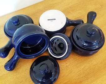 Blue handled bowls, set of 4 bowls with lids, soup bowls by Country Borders Japan, chili bowls, bean pots
