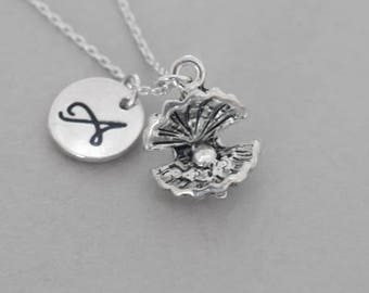 Silver Oyster with pearl necklace , Silver Oyster With Pearl Pendant ,  personalized infinity necklace ,Monogrammed Necklace