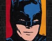 "BATMAN ADAM WEST Pop Art Painting - New Original, Acrylics 8""X 10"". Nice for any Batman or Adam West fan! Dark Knight. Mayor. Tv 1966"