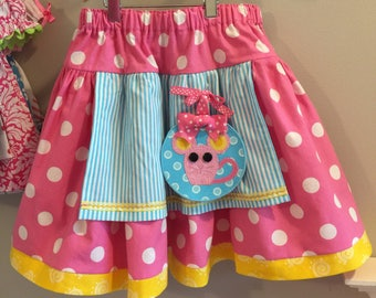 Sample Sale! Lalaloopsy crumbs Sugar Cookie Appliqued Mouse Skirt Custom Boutique Fits sizes 4-6