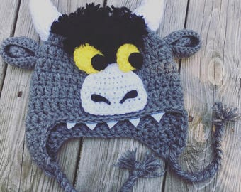 Where the wild things are, BULL, inspired hat, monster, WILD THINGS, crochet hat, photography prop, Wild Things, costume, Halloween