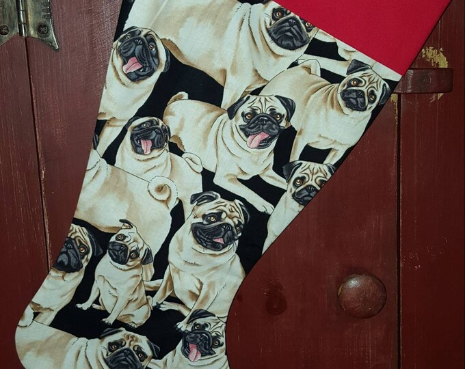 Pug  Christmas Stocking
