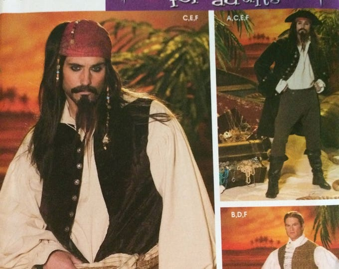 Simplicity Sewing Pattern 4923 Mens Costumes, BB (L-XL), Pirate Coat, Vest, Shirt, Pants Sewing Pattern