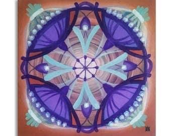 ORIGINAL mandala painting, spiritual art, home decor, mandala art, wall decor, orange, purple
