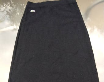Original vintage Authentic  lacoste pure new wool  skirt black  jupe pure laine  size 4 6 black dress skirt