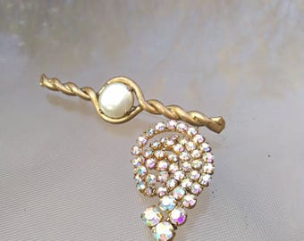 Antique french solid bronze gold crystal hand made brooch rainbow crystal brooch ornate snail shape twist pearl flower shape